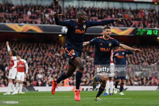 Mouctar Diakhaby of Valencia celebrates after scoring his team's first goal during the UEFA Europa League Semi Final First Leg match between Arsenal...