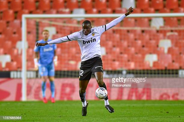 Mouctar Diakhaby of Valencia CF during the La Liga match between Valencia CF and FC Barcelona played at Mestalla Stadium on May 2, 2021 in Valencia,...