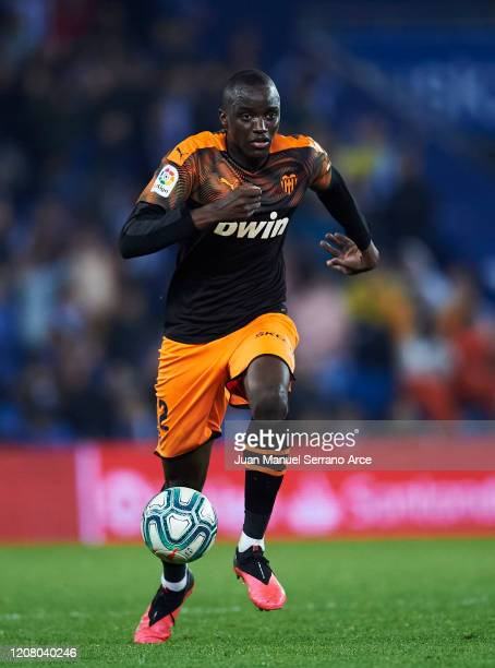 Mouctar Diakhaby of Valencia CF in action during the Liga match between Real Sociedad and Valencia CF at Estadio Anoeta on February 22 2020 in San...