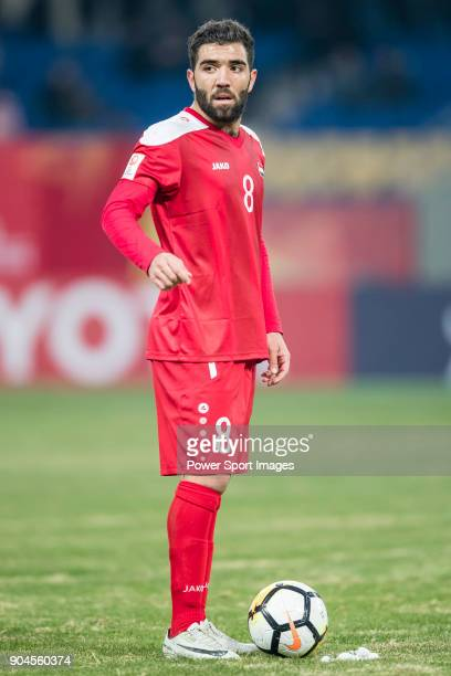 Mouhamad Anez of Syria gestures during the AFC U23 Championship China 2018 Group D match between Australia and Syria at Kunshan Sports Center on 11...