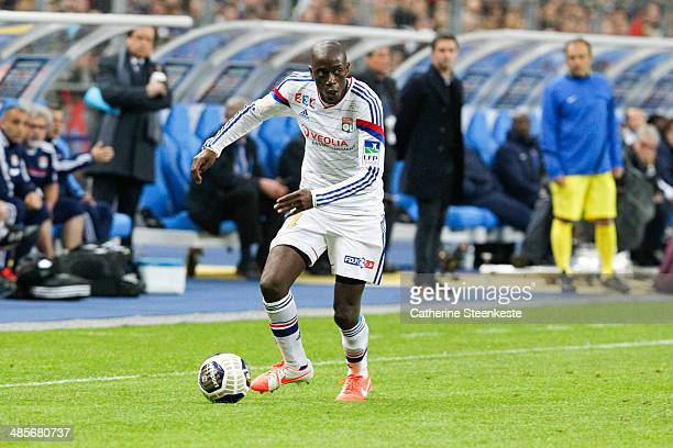Mouhamadou Dabo of Olympique Lyonnais controls the ball during the French League Cup Final game between Olympique Lyonnais and Paris SaintGermain FC...