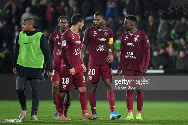 Mouhamadou Habibou DIALLO of Metz celebrates the victory with his team mates during the Ligue 1 match between FC Metz and FC Nantes at Stade...