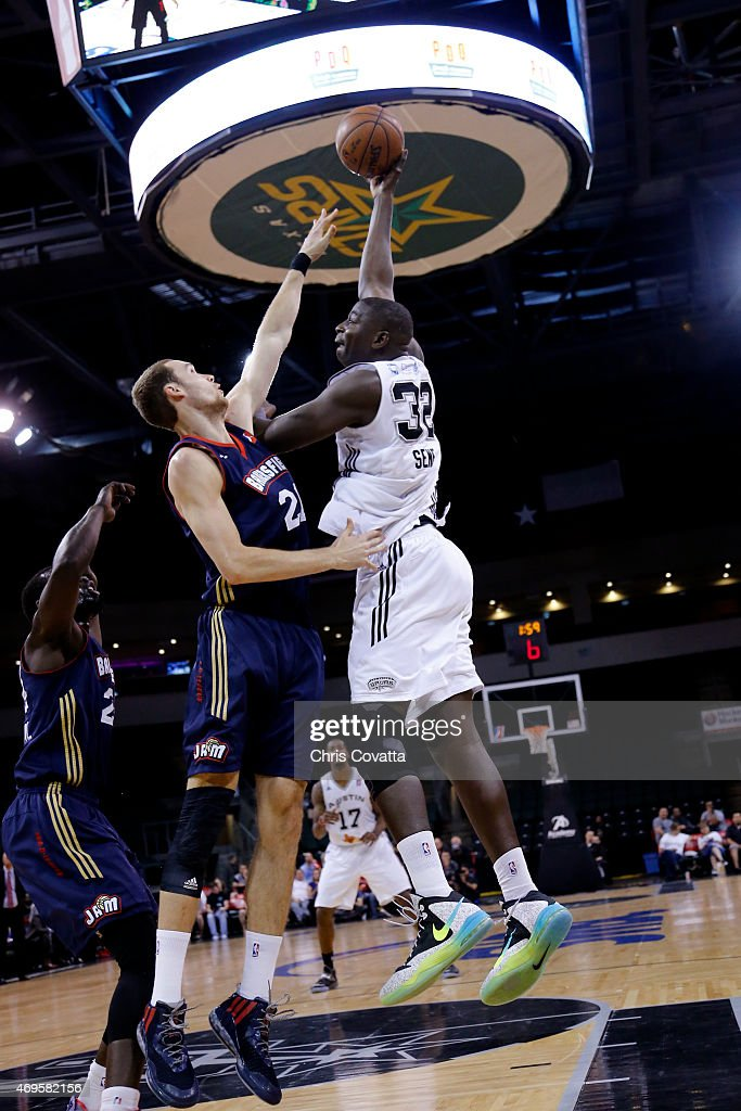 Mouhamed Sene #32 of the Austin Spurs shoots the ball against the Bakersfield Jam in game three of the 2015 D-League playoffs at the Cedar Park Center on April 12, 2015 in Cedar Park, Texas.