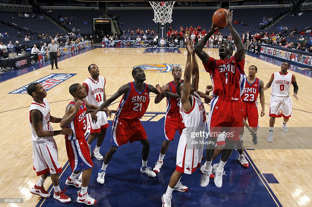 Mouhammad Faye #1 of the SMU Mustangs shoots a layup against the Houston Cougars during Round One of the Conference USA Basketball Tournament at FedExForum on March 11, 2009 in Memphis, Tennessee. Houston beat SMU