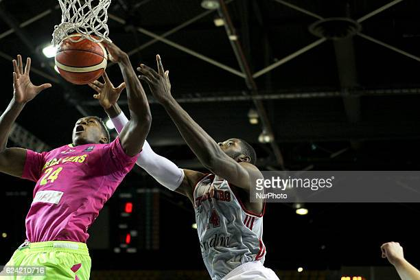 Mouhammadou Jaiteh 14 of SIG Strasborg against Alpha Kaba 24 in action during SIG Strasbourg v Mega Leks from gameday 5 in the Basketball Champions...