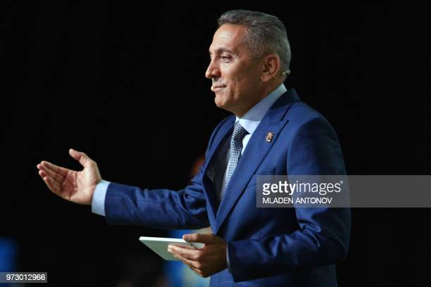 Moulay Hafid Elalamy chairman of the Moroccan Committee bidding for the 2026 World Cup presents the bid during the 68th FIFA Congress at the...