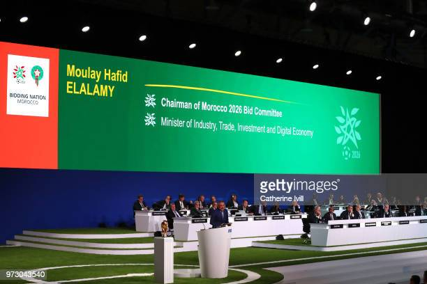 Moulay Hafid Elalamy chairman of the Moroccan Committee bidding for the 2026 World Cup presents their bid during the 68th FIFA Congress at Moscow's...