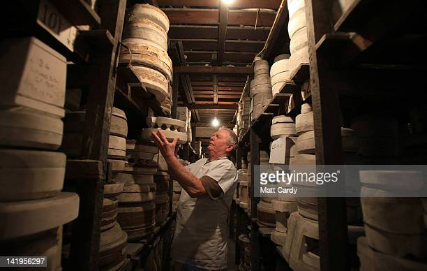 Mould maker John Machin checks for historic moulds stored at Middleport Pottery on March 27, 2012 in Stoke-on-Trent, England. The historic Middleport...