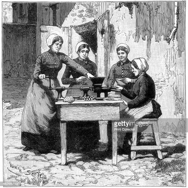 Moulding explosive gum cartridges Isleten near Fluelen Switzerland 1893 A print from the Illustrated London News 7th January 1893