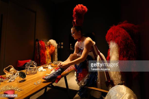 Moulin Rouge dancer Mathilde Tutiaux of France is seen prior to the Moulin Rouge Night event at Pullman Tokyo Tamachi on March 19 2019 in Tokyo Japan...