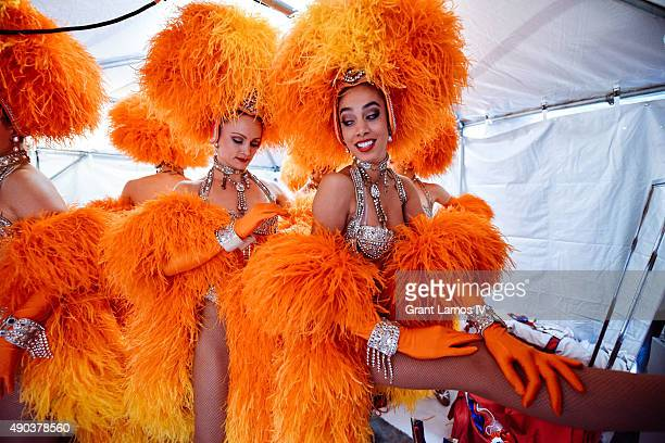 Moulin Rouge dancers backstage at the Best Of France main stage in Times Square on September 27 2015 in New York City This stop was part of Moulin...