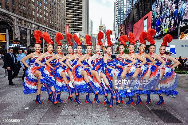 Moulin Rouge dancers visit NASDAQ on September 25 2015 in New York City This stop was part of Moulin Rouge's first visit to New York City in its...