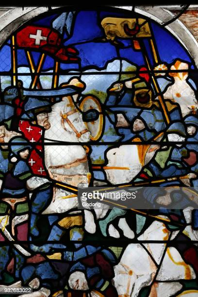 Moulins cathedral. Stained glass window. Crusades. Godefroy de Bouillon. Moulins. France.