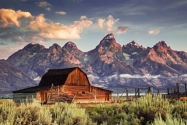 Moulton Barn and Tetons in Morning Light
