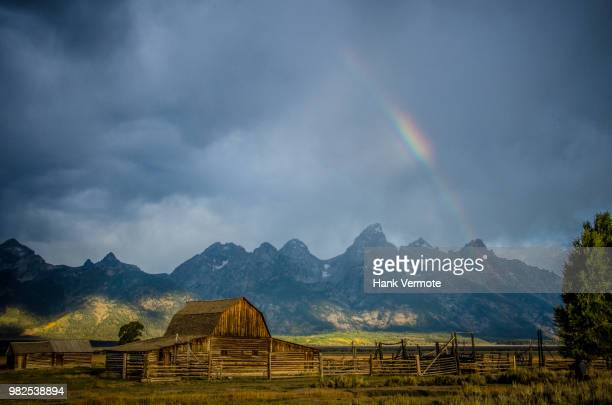 moulton barn rainbow - hank vermote stock pictures, royalty-free photos & images