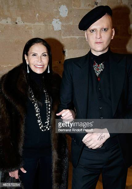 Mouna Ayoub and Ali Mahdavi attend the launch of Elie Top first 'Mechanique Celestre' collection at Gallerie Mitterrand on January 27 2015 in Paris...