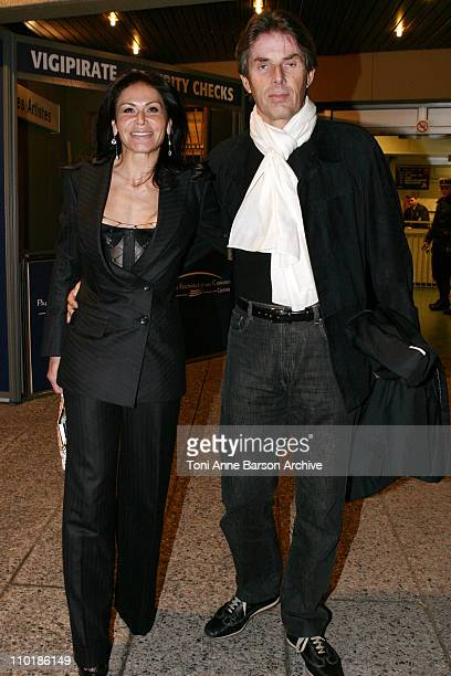 Mouna Ayoub and Dominique Dessaigne during 2004 NRJ Music Awards Back Exit / After Show Departure at Palais des Festivals in Cannes France