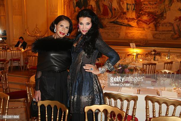 Mouna Ayoub and Lamia Khashoggi attend the Children For Peace Gala at Cercle Interallie on December 12 2014 in Paris France