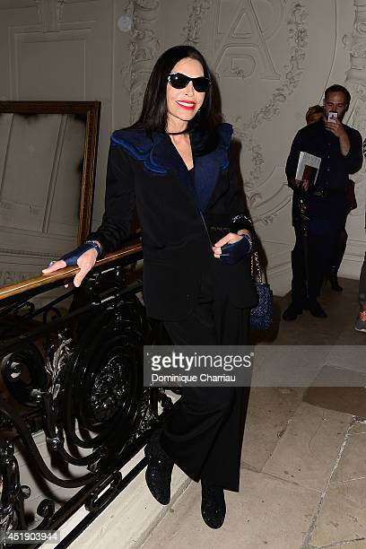 Mouna Ayoub attends at the Jean Paul Gaultier show as part of Paris Fashion Week Haute Couture Fall/Winter 20142015 at 325 Rue Saint Martin on July 9...