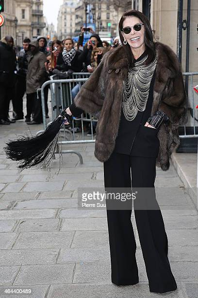 Mouna Ayoub attends the Jean Paul Gaultier show as part of Paris Fashion Week Haute Couture Spring/Summer 2014 on January 22 2014 in Paris France