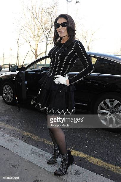 Mouna Ayoub attends the Zuhair Murad show as part of Paris Fashion Week Haute Couture Spring/Summer 2014 on January 23 2014 in Paris France