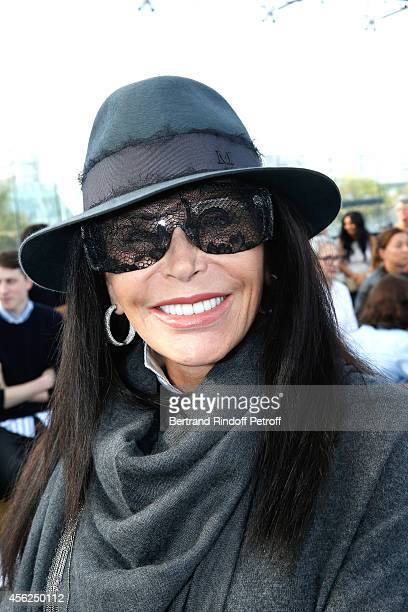 Mouna Ayoub wearing glasses offered to her by Lady Gaga attends the Maxime Simoens show as part of the Paris Fashion Week Womenswear Spring/Summer...