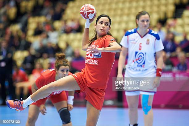 Mouna Chebbah of Tunisia in action during the 22nd IHF Women's Handball World Championship match between Tunisia and Serbia in Jyske Bank Boxen on...