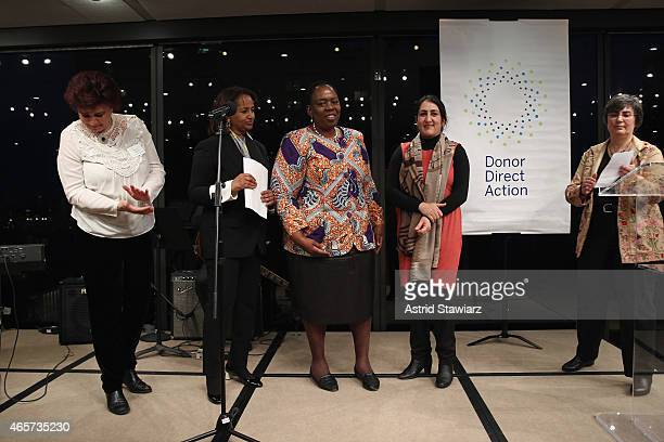 Mouna Ghanem Hibaaq Osman Nozizwe MadlalaRoutledge Najia Karimi and Jessica Neuwirth are seen on stage during the launch party of Donor Direct Action...