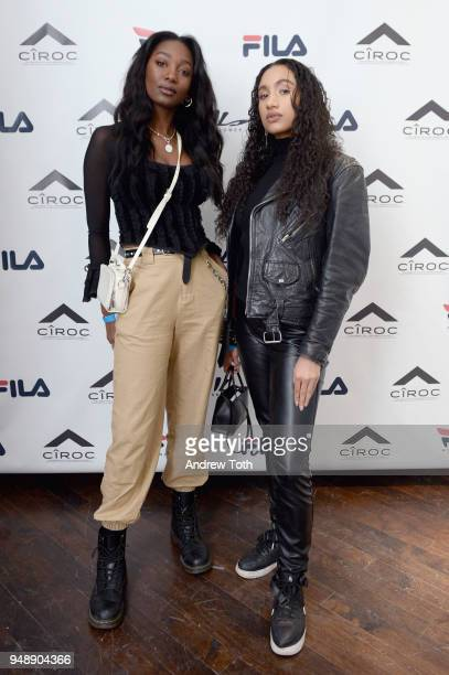 Mouna Traore and Syv de Blare attend the Launch of the FILA Mindblower PopUp Powered by Ciroc on April 19 2018 in New York City