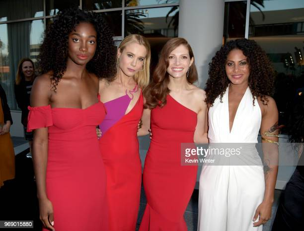Mouna Traore Kristen Hager Katherine Cunningham and Christina Moses arrive at the premiere of ATT Audience Network's Condor at NeueHouse on June 6...