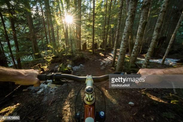pov mounatin biking - whistler british columbia stock pictures, royalty-free photos & images