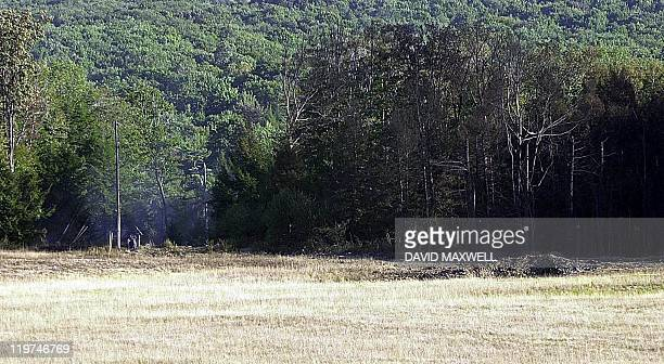 A mound of dirt and charred trees mark the site of a crater created by the impact of United Airlines Flight 93 which crashed 11 September 2001 The...
