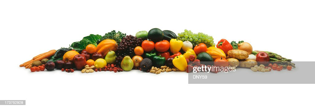 Mound of fruits and vegetable on a white background : Stock Photo