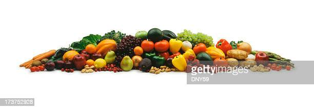 mound of fruits and vegetable on a white background - nut food stock photos and pictures