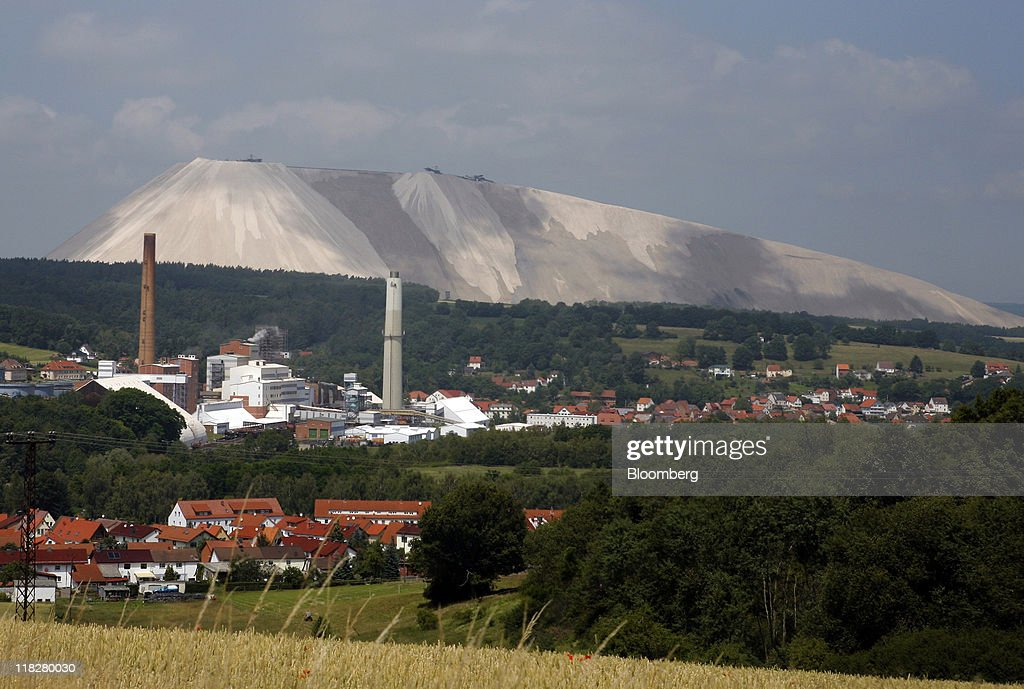 A mound of waste by-products is seen at the K+S AG potash mine in Unterbreizbach, Germany, on Tuesday, July 5, 2011. K+S AG, Europe's biggest potash producer, dropped 1.3 percent to 53 euros and Yara International ASA, the largest maker of nitrogen fertilizers, slid 4.2 percent to 303.70 kroner as a U.S. Department of Agriculture report showed that U.S. grain acreage and inventories topped analysts' estimates. Photographer: Hannelore Foerster/Bloomberg via Getty Images