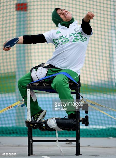 Mounia Gasmi of Algeria competes in Discus Wheelchair Women's final during the 9th Fazza International IPC Athletics Grand Prix Competition World...
