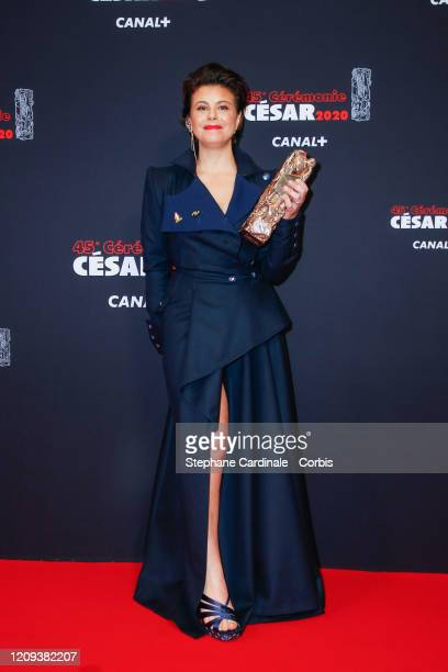 Mounia Meddour poses with the Best First Movie award for the movie 'Papicha during the Cesar Film Awards 2020 Ceremony At Salle Pleyel In Paris on...