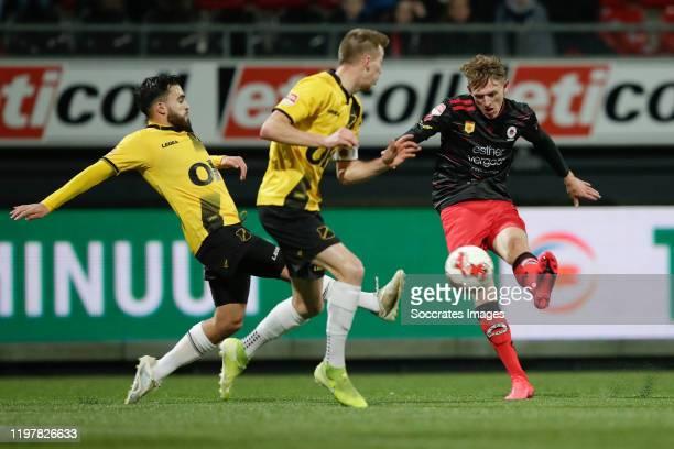 Mounir El Allouchi of NAC Breda, Arno Verschueren of NAC Breda, Wouter Burger of Excelsior Rotterdam during the Dutch Keuken Kampioen Divisie match...