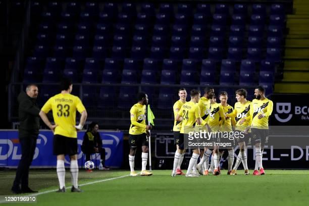 Mounir el Allouchi of NAC Breda celebrates 1-0 with Nick Venema of NAC Breda, Colin Rosler of NAC Breda, Robin Schouten of NAC Breda, Kaj de Rooij of...