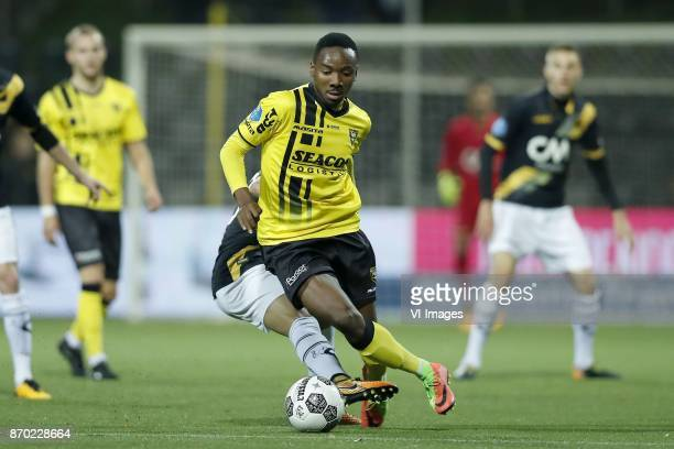 Mounir El Allouchi of NAC Breda Kelechi Nwakali of VVV Venlo during the Dutch Eredivisie match between VVV Venlo and NAC Breda at Seacon stadium De...