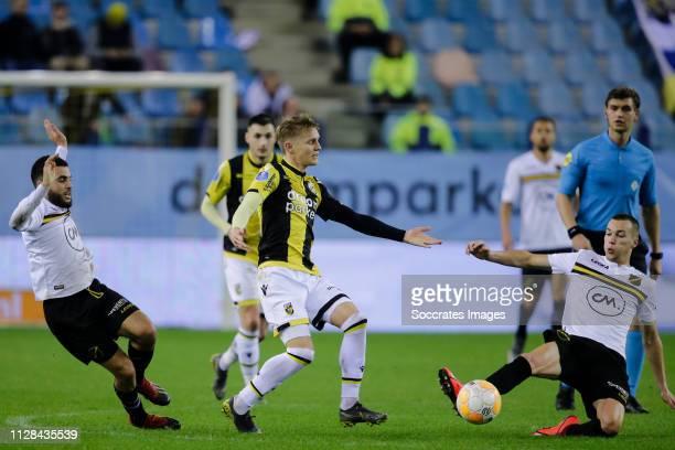Mounir El Allouchi of NAC Breda Martin Odegaard of Vitesse Arno Verschueren of NAC Breda during the Dutch Eredivisie match between Vitesse v NAC...