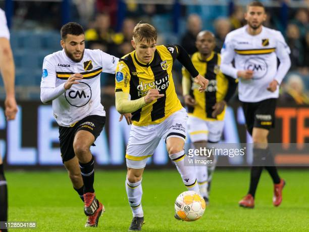 Mounir El Allouchi of NAC Breda Martin Odegaard of Vitesse during the Dutch Eredivisie match between Vitesse Arnhem and NAC Breda at Gelredome on...
