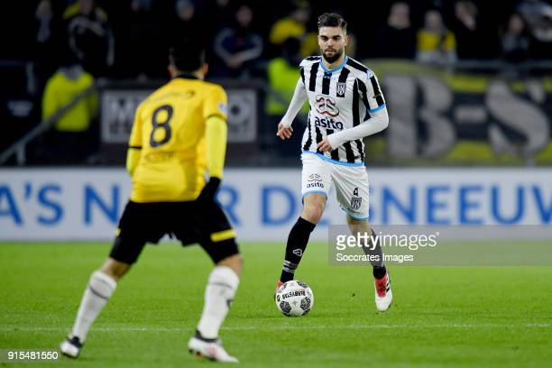 Mounir El Allouchi of NAC Breda Robin Propper of Heracles Almelo during the Dutch Eredivisie match between NAC Breda v Heracles Almelo at the Rat...