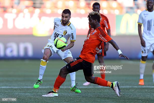 Mounir Obbadi of Lille during the French Ligue 1 match between Fc Lorient and Lille OSC at Stade du Moustoir on April 30, 2016 in Lorient, France.