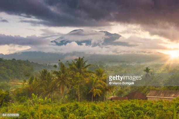 Mount Agung (Gunung Agung) and the Sidemen valley. Bali