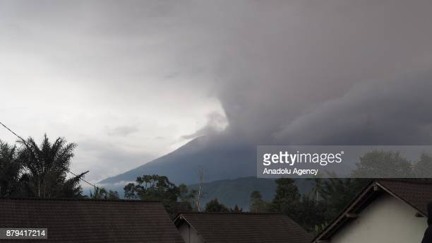 Mount Agung erupts ashes to the air in Sibetan village of Karangasem regency 7 kilometers from the erupted Mount Agung in Bali Indonesia on November...