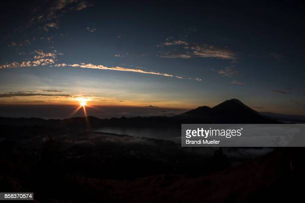 mount agung from mount batur, bali, indoneisa - lake batur stock photos and pictures