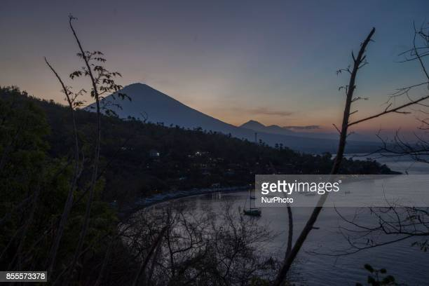 Mount Agung seen from Amed Beach in Bali Indonesia on September 28 2017 Seismic activity below Mount Agung has been growing over recent weeks with...