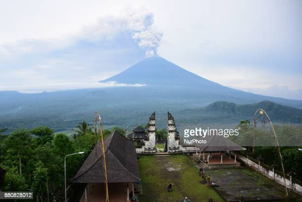Mount Agung view from Lempuyang Temple Karangasem Bali Indonesia on November 28 2017 The status of Mount Agung disaster increased to level IV This is...