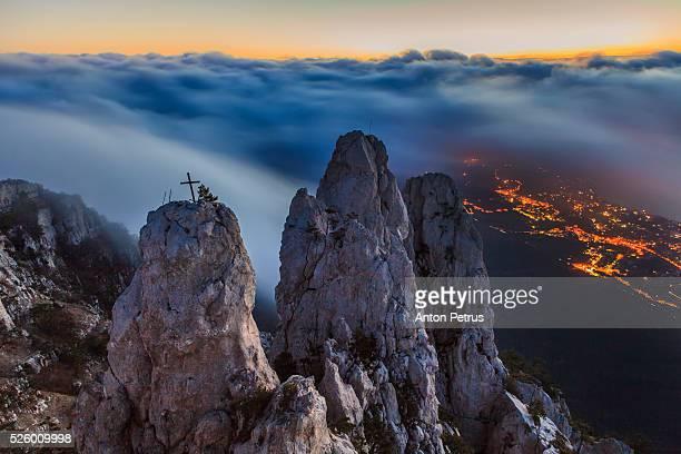 Mount Ai-Petri in the fog at sunrise, Crimea